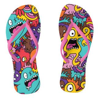 Crazy Cartoon Creatures Flip Flops