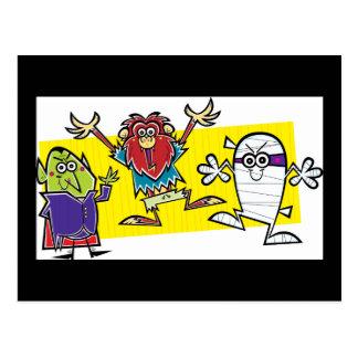 Crazy Cartoon Halloween Vanpire Ghost Werewolf Postcard