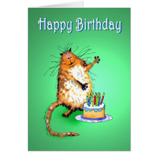 crazy cat and Birthday cake and candles, humor, Card