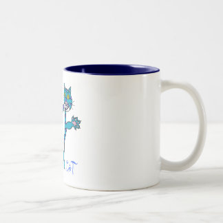 crazy cat blue, Crazy   Cat Two-Tone Coffee Mug