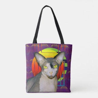 Crazy Cat Design with Sphynx Cat and Devon Rex Cat Tote Bag