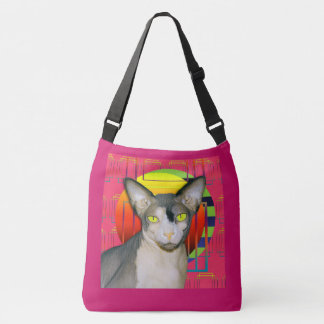 Crazy Cat Design with Sphynx Cat Ninja on Pink Crossbody Bag