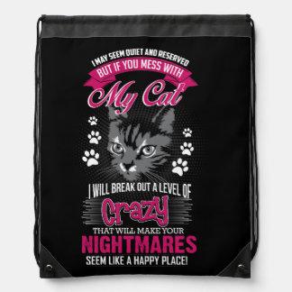 Crazy Cat Drawstring Bag