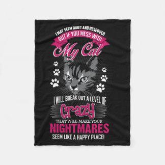 Crazy Cat Fleece Blanket