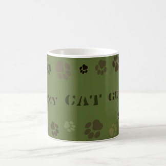 """Crazy Cat Guy"" Pawprint Camouflage Mug"