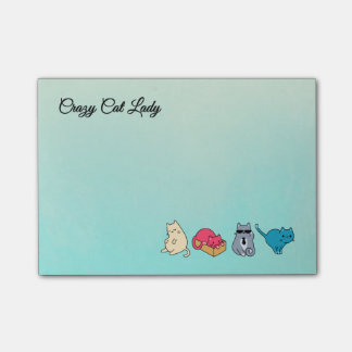 Crazy Cat Lady and 4 Cute Cats Post-it® Notes