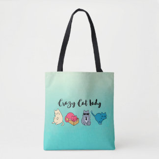 Crazy Cat Lady and 4 Cute Cats Tote Bag