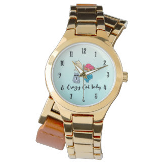 Crazy Cat Lady and 4 Cute Cats Wrist Watch