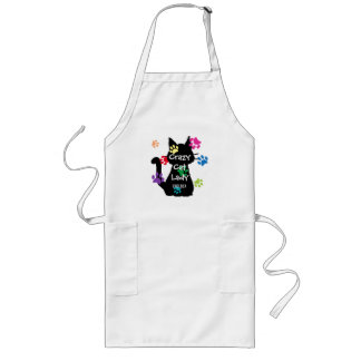 Crazy Cat Lady Black Cat and Rainbow Painted Paws Long Apron