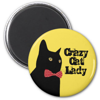 Crazy Cat Lady - Black Cat with Red Bow Tie Magnet