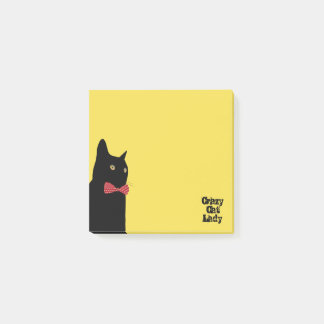 Crazy Cat Lady - Black Cat with Red Bow Tie Post-it Notes