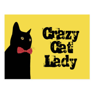 Crazy Cat Lady - Black Cat with Red Bow Tie Postcard