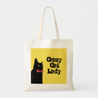 Crazy Cat Lady - Black Cat with Red Bow Tie Tote Bag