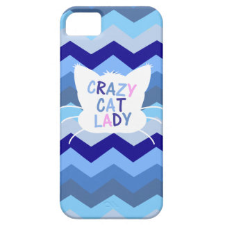 Crazy Cat Lady - Blue Chevron Waves iPhone 5 Case