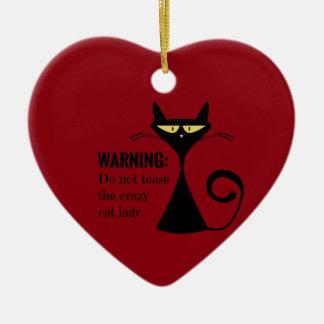 Crazy Cat Lady Ceramic Heart Ornament