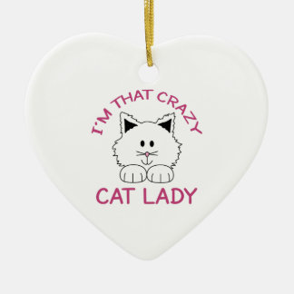 CRAZY CAT LADY CERAMIC ORNAMENT