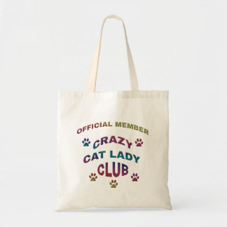 Crazy Cat Lady Club Fabric Totes Budget Tote Bag