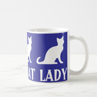 Crazy cat lady coffee mug design with white kitten