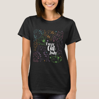 Crazy Cat Lady Colorful Cartoon Pattern Gift T-Shirt
