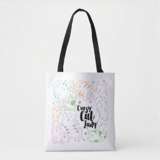 Crazy Cat Lady Colorful Cartoon Pattern Gift Tote Bag