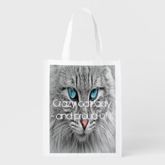 Crazy cat lady, custom family pet photo reusable grocery bags