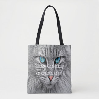 Crazy cat lady, custom family pet photo tote bag