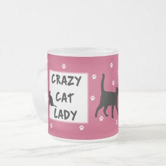 Crazy Cat Lady Frosted Glass Mug