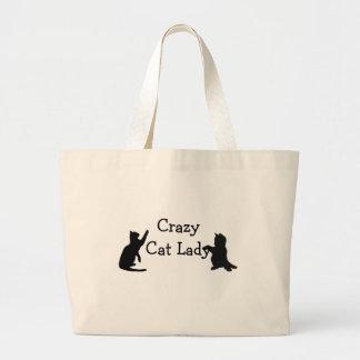 Crazy Cat Lady Fun Animal Art Large Tote Bag