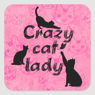 Crazy Cat Lady Fun Playful Cats Square Sticker