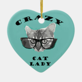 Crazy Cat Lady Funny Slogan with Hipster Glasses Ceramic Heart Ornament