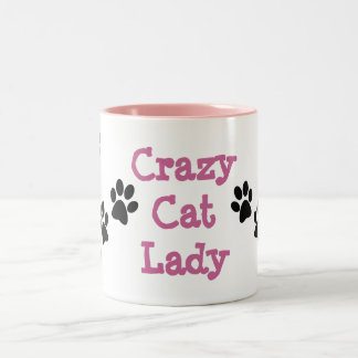 Crazy Cat Lady Pawprints Design Coffee Mug