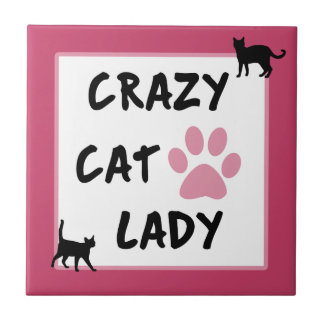 Crazy Cat Lady Photo Ceramic Tile