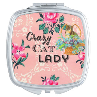 Crazy cat lady pink vintage mirror travel mirror