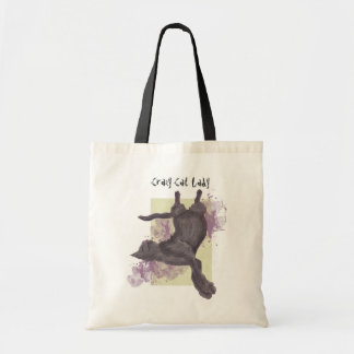 Crazy Cat Lady purples grunge tote bags