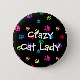 """""""Crazy Cat Lady"""" Rainbow Painted Paws 2 Inch Round Button"""