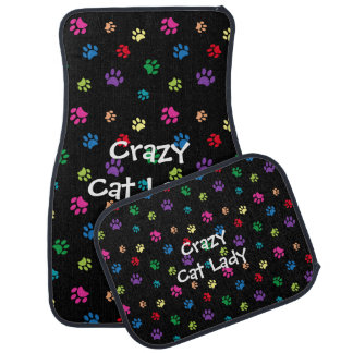 Crazy Cat Lady Rainbow Painted Paws Car Mat