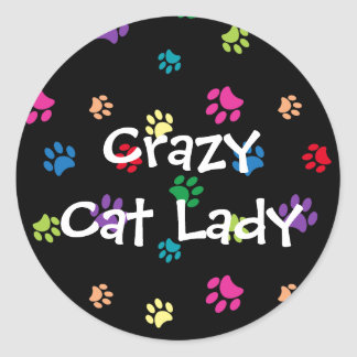 Crazy Cat Lady Rainbow Painted Paws Classic Round Sticker
