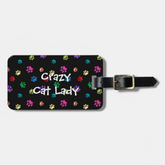 Crazy Cat Lady Rainbow Painted Paws Luggage Tag