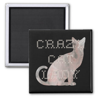 Crazy Cat Lady Watercolor Embroidery Magnet
