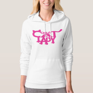 Crazy Cat Lady White and Hot Pink Hoodie