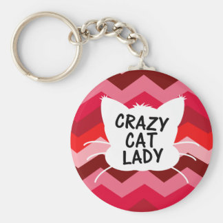Crazy Cat Lady with Crazy Chevron Pattern Keychain