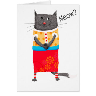 Crazy cat, Meow. humor. Card