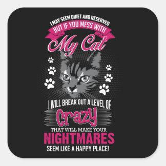 Crazy Cat Square Sticker