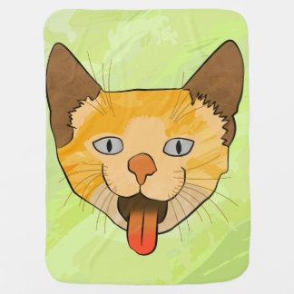 Crazy Cat Vector Art Baby Blanket