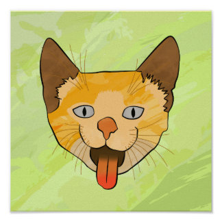 Crazy Cat Vector Art Poster