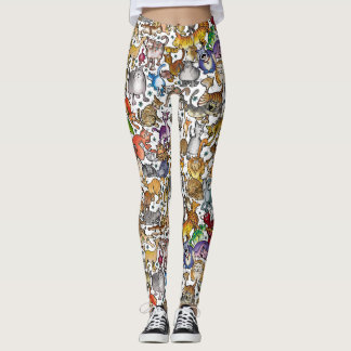 """Crazy Cats"" Leggings (White Background)"