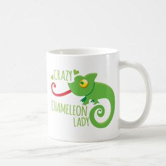 Crazy chameleon lady coffee mug