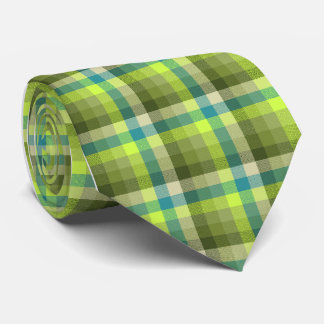 Crazy Check Plaid Lime Single-Sided Tie