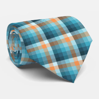 Crazy Check Plaid Teal and Orange Two-Sided Tie