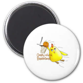 (Crazy Chick Basketball) 2 Inch Round Magnet